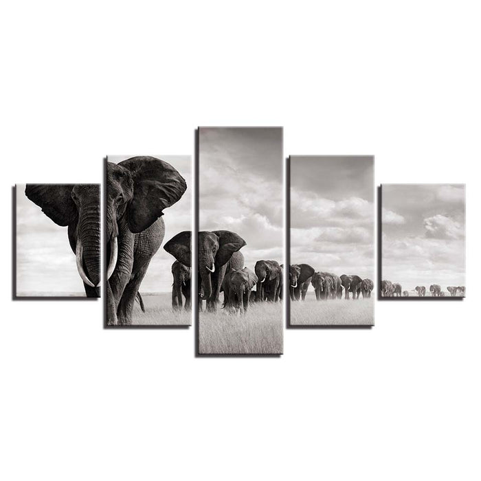 HD Wall Art Framework Canvas Pictures Modern 5 Panel Elephants Landscape Posters Home Decoration Printed Cuadros Paintings