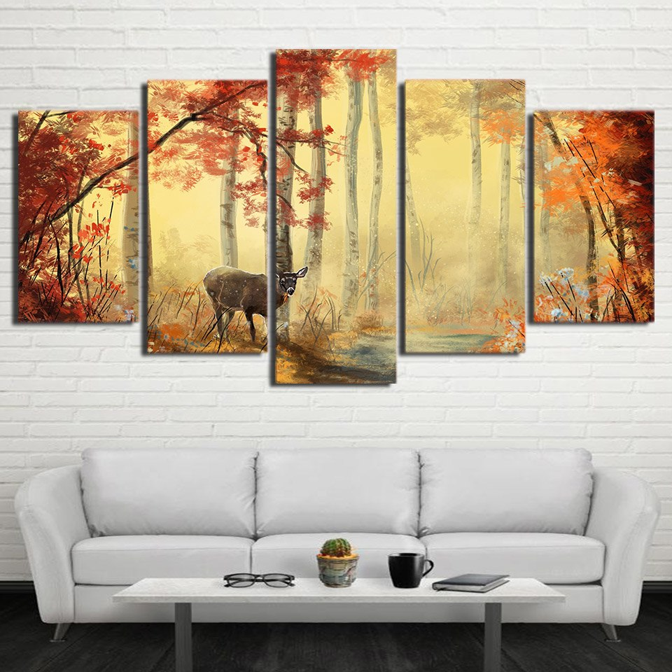 Fall White Tailed Deer Hunting 5 Panel Wall Art | OctoTreasure