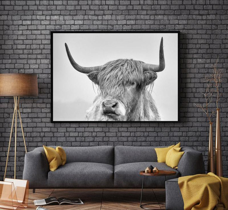 """Fanatical Bull"" Black And White Unframed Canvas Prints 
