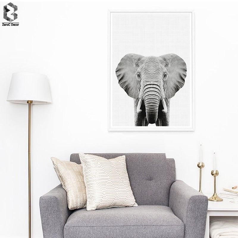 Elephant Portrait Posters And Prints Wall Art Canvas Painting Black White Wall Pictures For Living Room Nordic Decoration