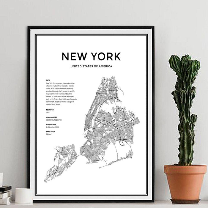 New York City Map Modern Canvas Painting Black White Nordic Posters Prints Wall Art Pictures For Living Room Home Decor No Frame