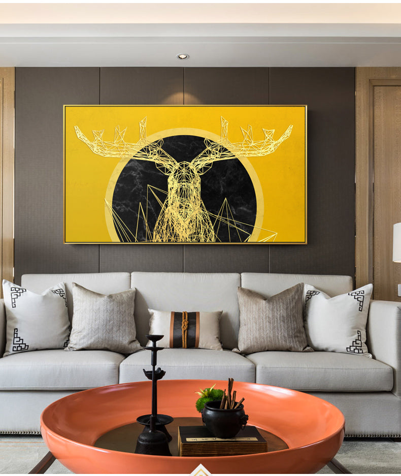 Modern Abstract Yellow Deer Canvas Painting Art Wall Pictures For Living Room Home Decoration HD Animal Posters And Prints LS055