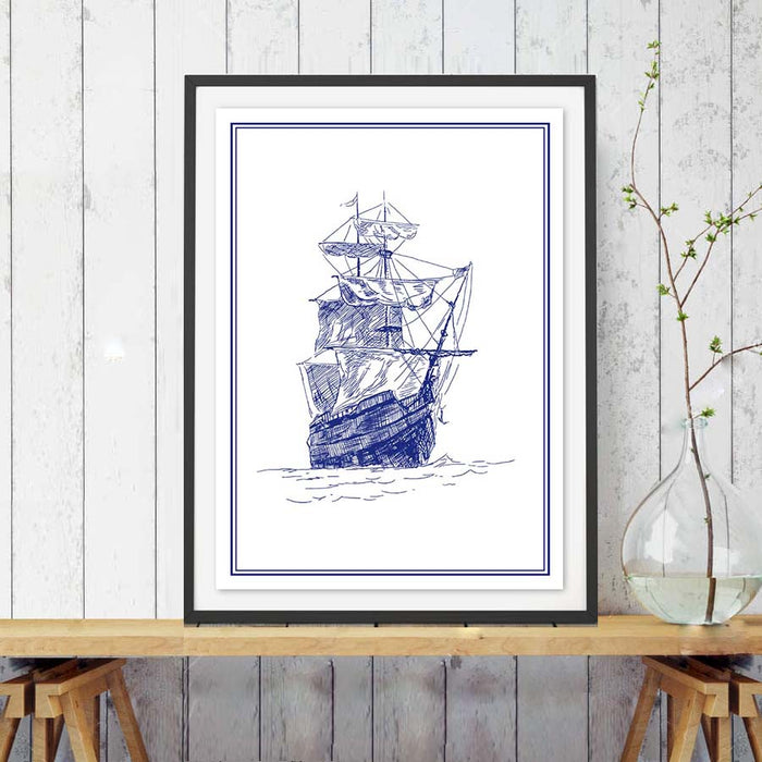 New Design Sailing Boat Canvas Painting,Modern Nordic Minimalist Art Canvas Print, Seascape Picture ,Children Room Decor