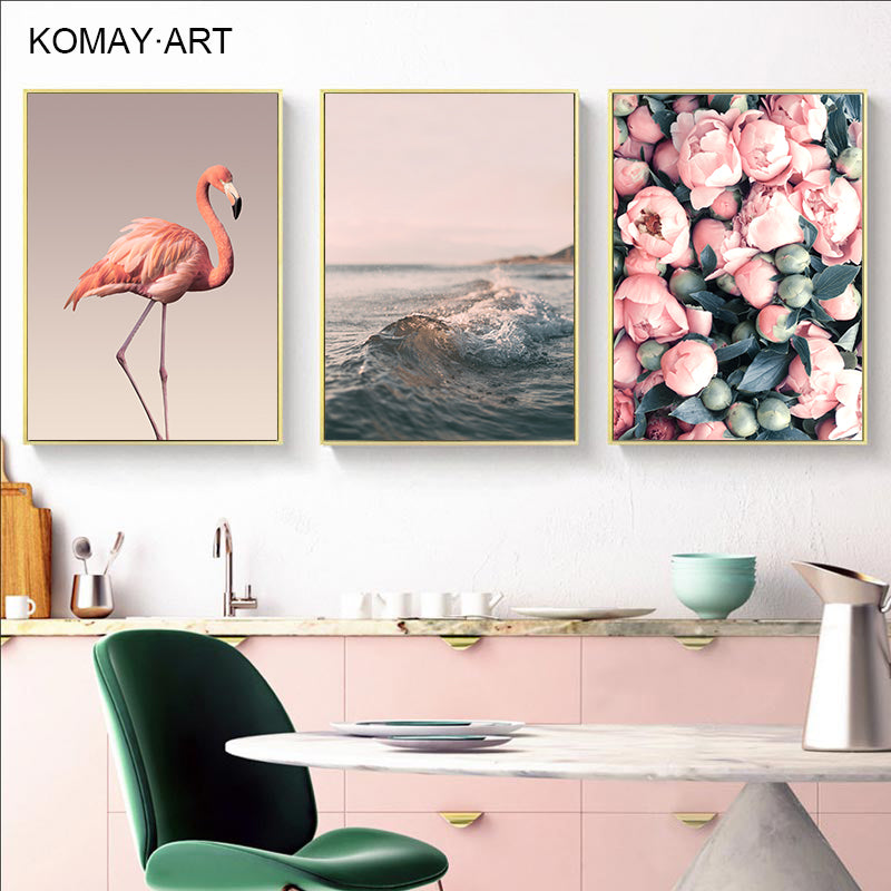 Nordic Minimalist Flamingos Saturna Art Canvas Painting Prints Posters Wall Art Pictures For Living Room Modern Home Decor T003