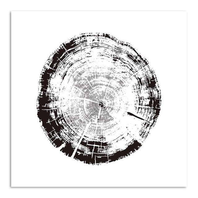 Nordic Minimalist Canvas Decorative Picture Black White Tree Ring Canvas Print Painting Poster Art Wall Decor For Living Room