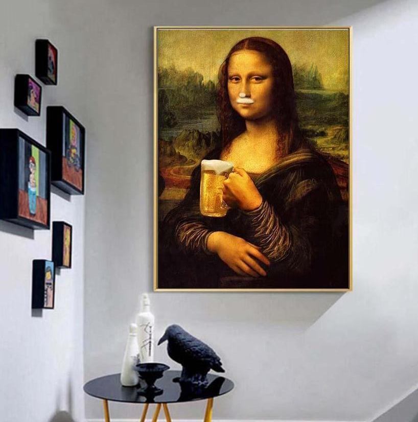 """Got Beer"" Mona Lisa Canvas Wall Art"