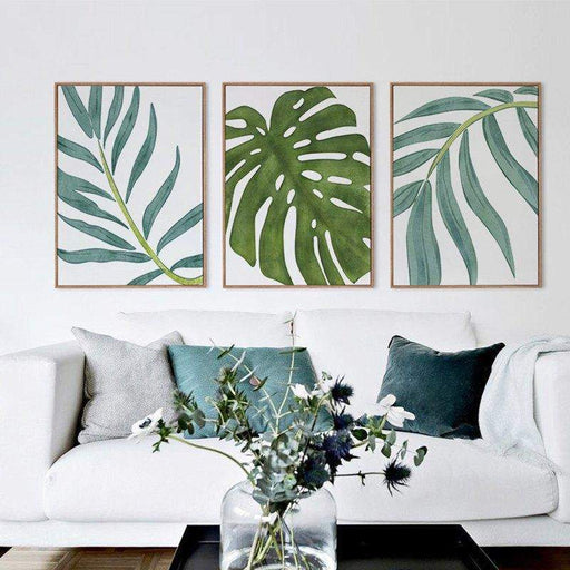 3 Panel Nordic Leaf Unframed Modern Wall Canvas | Octo Treasure