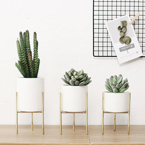 Nordic Ceramic Flower Pot Plant Pot Succulent Flowerpot + Iron Stand Rack Holder Support for Home Garden Wedding Decoration