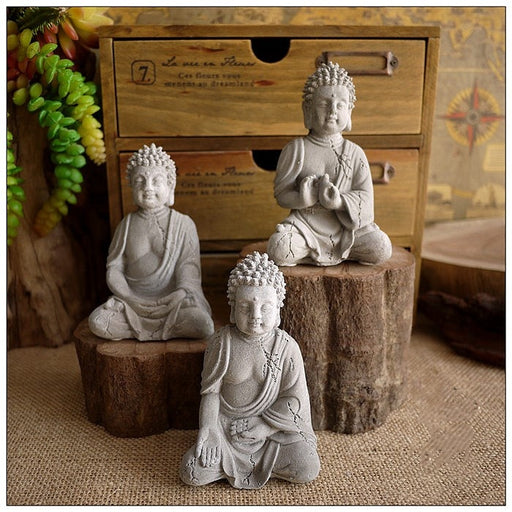 Cement Buddha Statue Sculpture Handmade Figurine Shakyamuni Buddha's Zen Meditation Fish Tank Rockery Landscaping Decoration