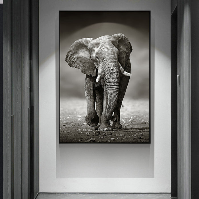 Nordic poster wall art Elephant Photography industry Black and white scenery poster pictures canvas painting for the living room
