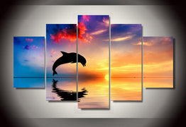 HD Printed Ocean sunset dolphin picture Painting wall art room decor print poster picture canvas Free shipping/ny-752 | Octo Treasure