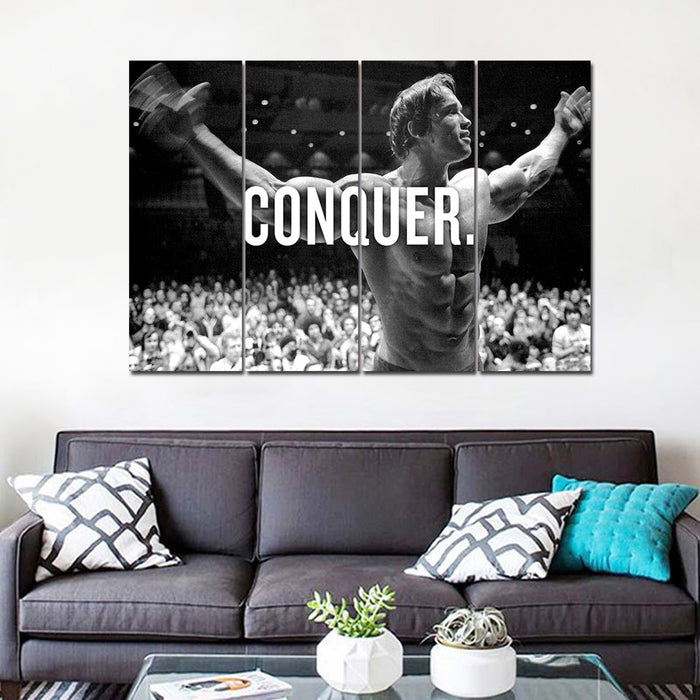 4 Panel Arnold Conquer Inspiration Canvas Painting | OctoTreasure