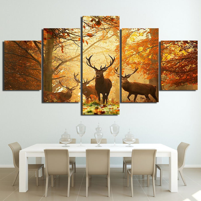 Fall Red Deer Hunting Season 5 Panel Wall Art | OctoTreasure