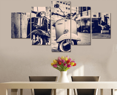 5 Pieces Multi Panel Home Decor Framed Retro Vespa Scooter Wall Canvas Art | Octo Treasure
