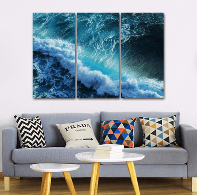 3 Panel Ocean Waves Seascape Framed Wall Canvas | Octo Treasure
