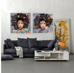 2 Panel Abstract Graffiti Woman Portrait Unframed Modern Wall Canvas | Octo Treasure