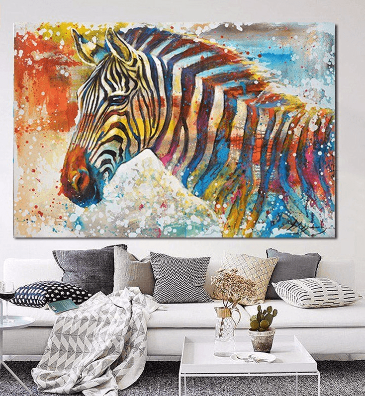 """Stand Tall"" Colorful Zebra Canvas Spray Painting 