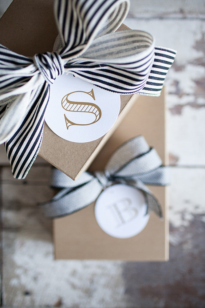 Gold Monogram Gift Tags