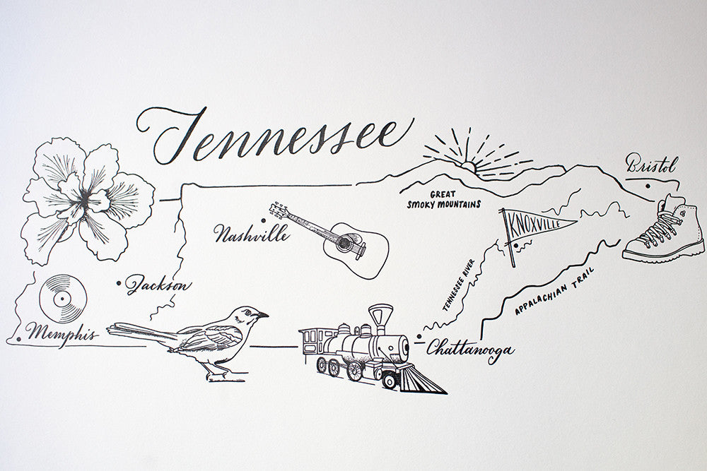 photograph relating to Printable Map of Tennessee called Map of Tennessee Print CP Mercantile