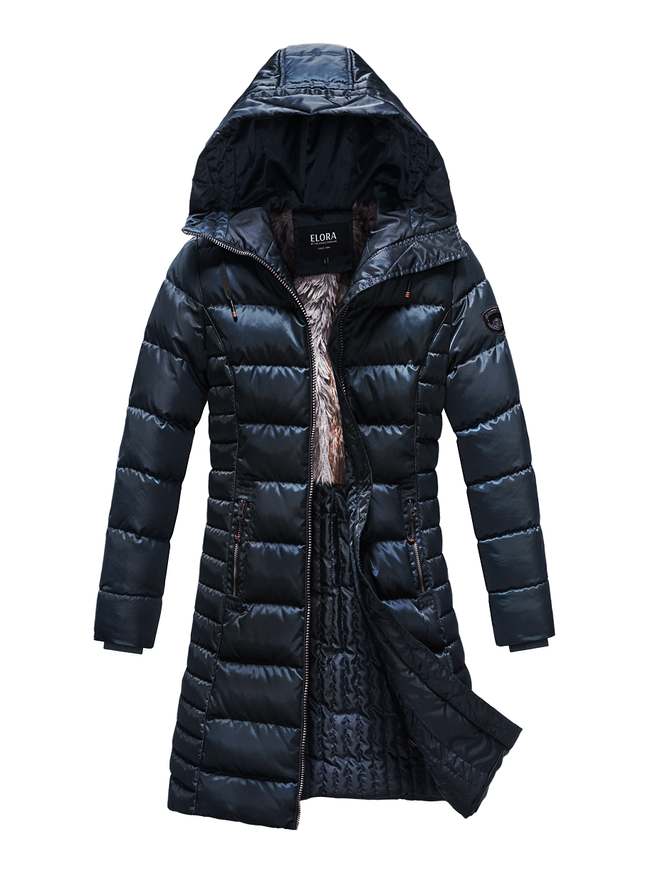 ELORA Women's Winter Coat With Faux Fur And Quilted Lining