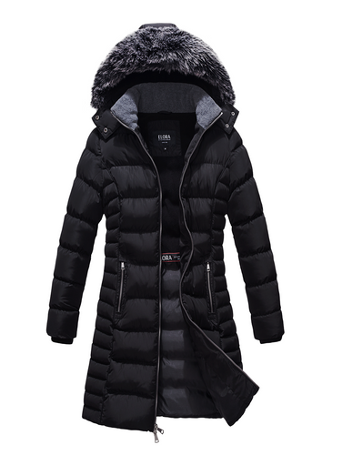 ELORA Women's Winter Puffer Parka (37' Inch length) With Fleece Lining and Detachable Fur Trim Hood