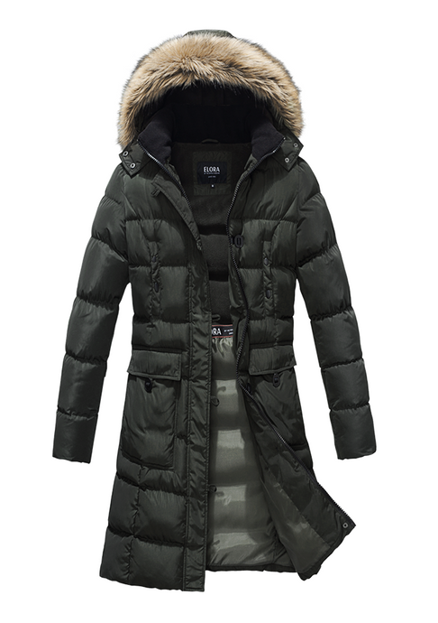 Women's Winter Mid-Length Parka With Removable Hood