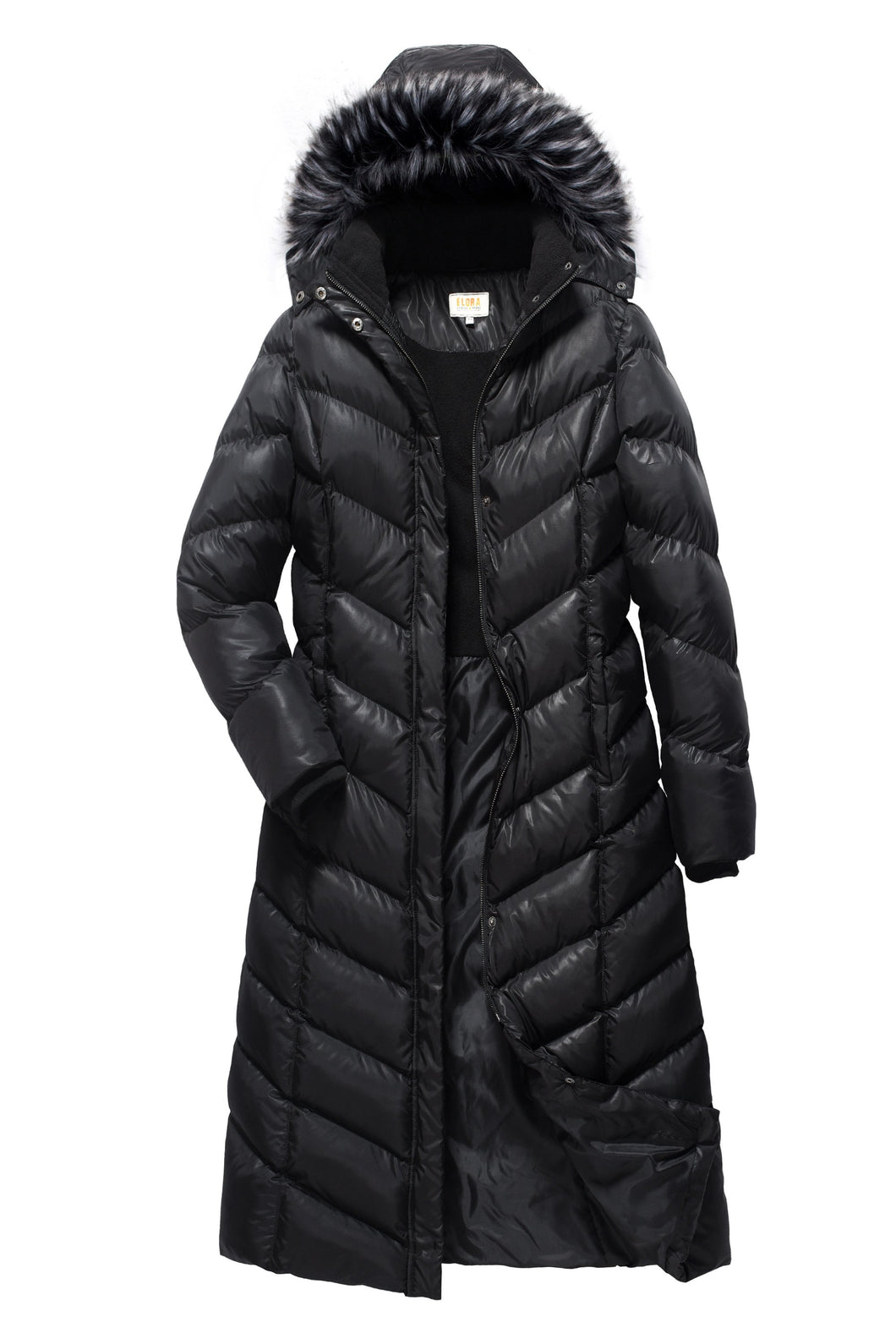 Women's Full Length Parka With Matching Faux-Fur Hood