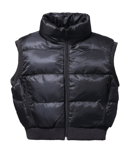 Junior Puffer Padded Cropped Nylon Vest - Black