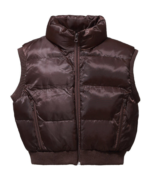 Junior Puffer Padded Cropped Nylon Vest - Brown