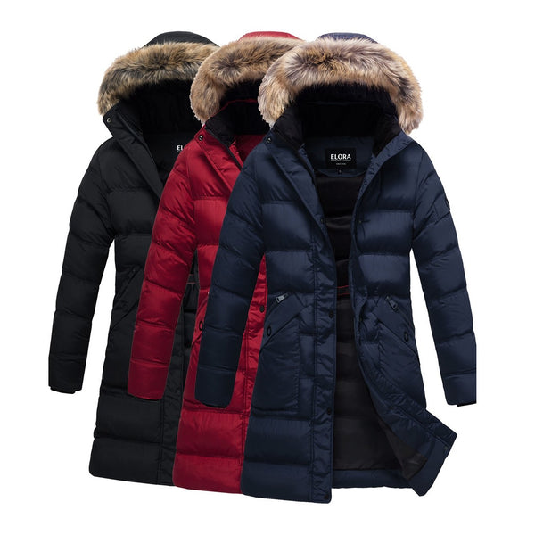 ELORA Women's Winter Heavyweight Parka Jacket Mid Length Puffer Coat