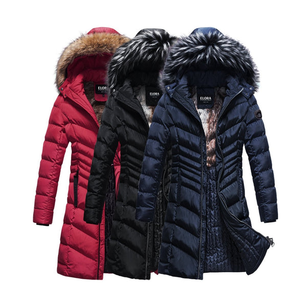 ELORA Women's Puffer Parka (38' Inch length) With Faux-Fur Trim, Removable Hood.  Faux Fur Lining ****FREE WORLDWIDE SHIPPING*****