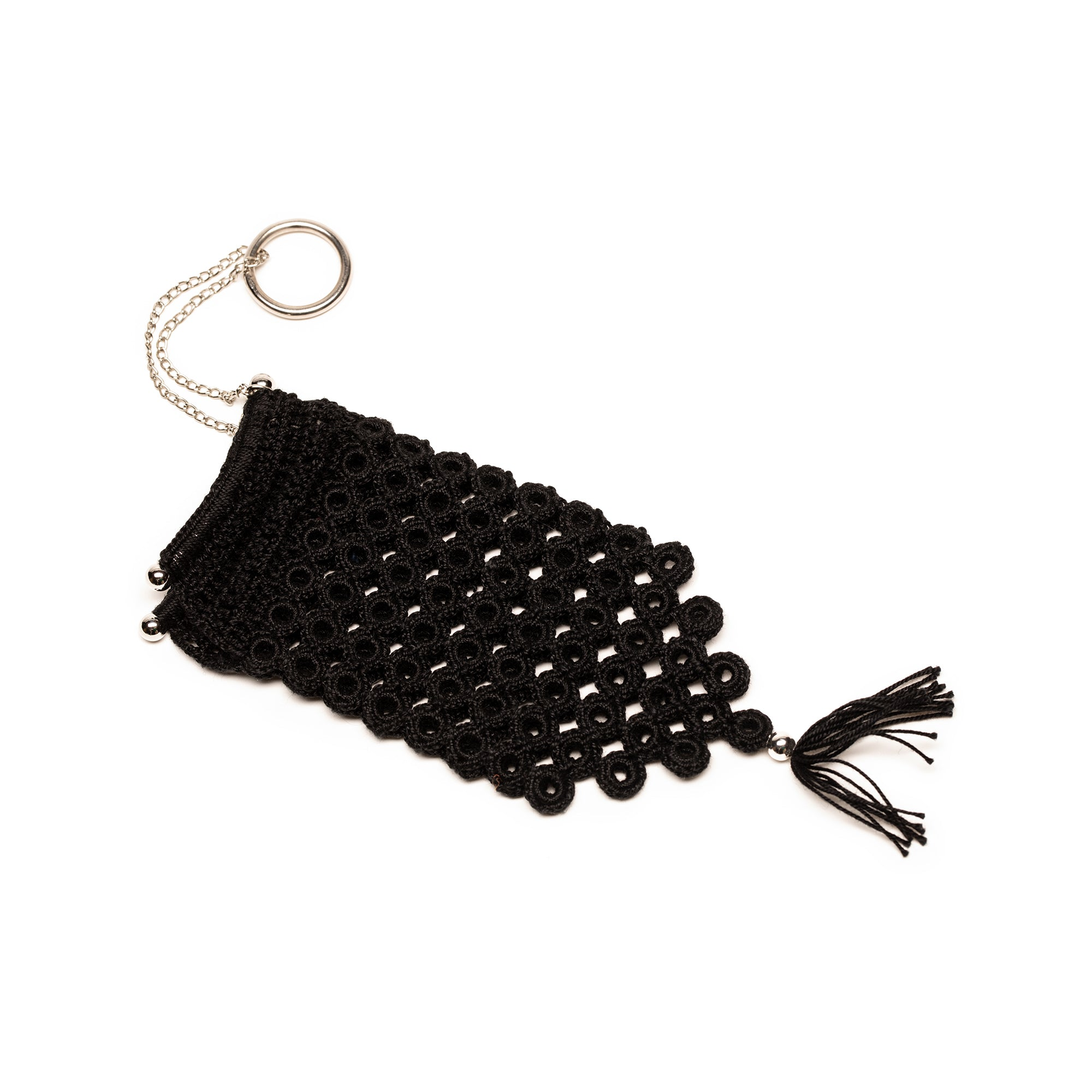 CROCHET MISER'S PURSE black and silver
