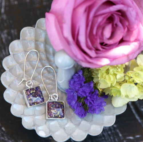 Memory Flower Jewelry | Small Square Earrings