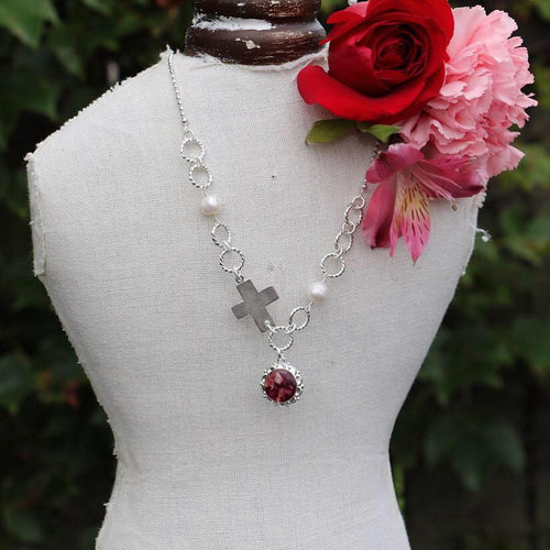 Memory Flower Jewelry | Fresh Water Pearl Asymetrical Necklace