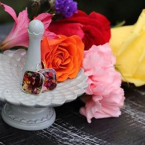 Memory Flower Jewelry | Large Square Earrings
