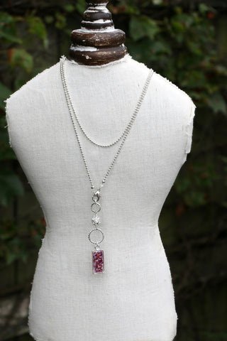 Long Crystal Memory Flower Drop Necklace