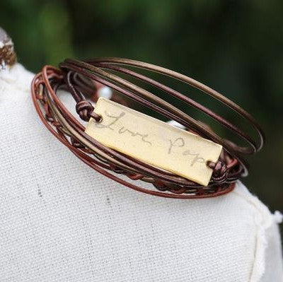 Handwriting Jewelry | Braided Leather Bracelet