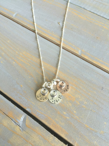 Simplistic Mixed Metal Mother's Necklace