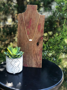 Druzy Jewelry | Gold Horizontal Oval Necklace