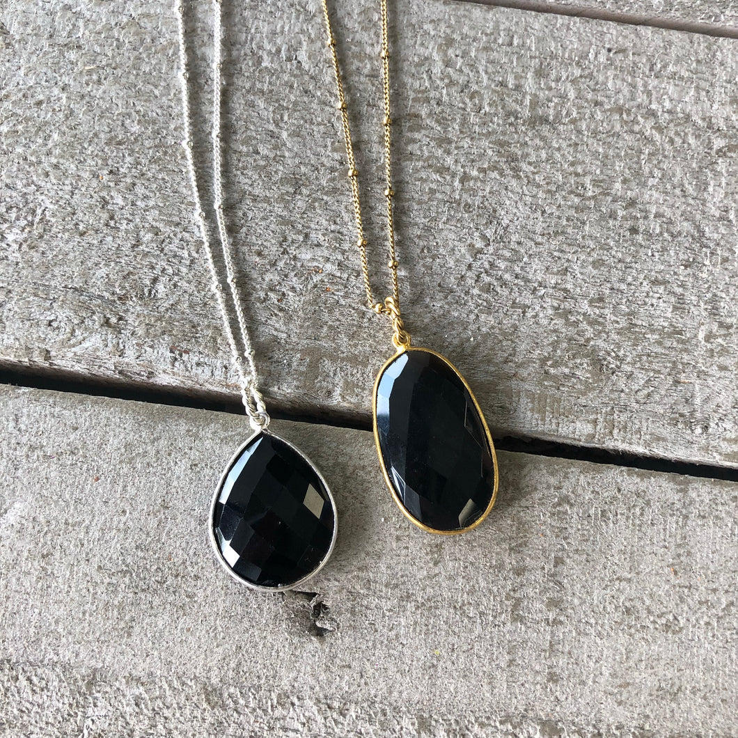Gemstone Jewelry | Onyx Drop Necklace