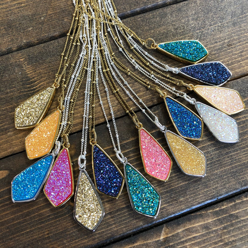 Druzy Jewelry | Diamond Druzy Necklace