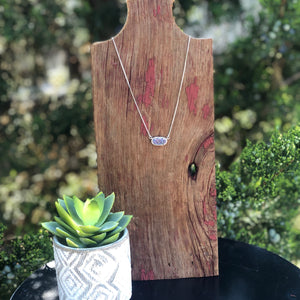 Druzy Jewelry | Silver Horizontal Oval Necklace