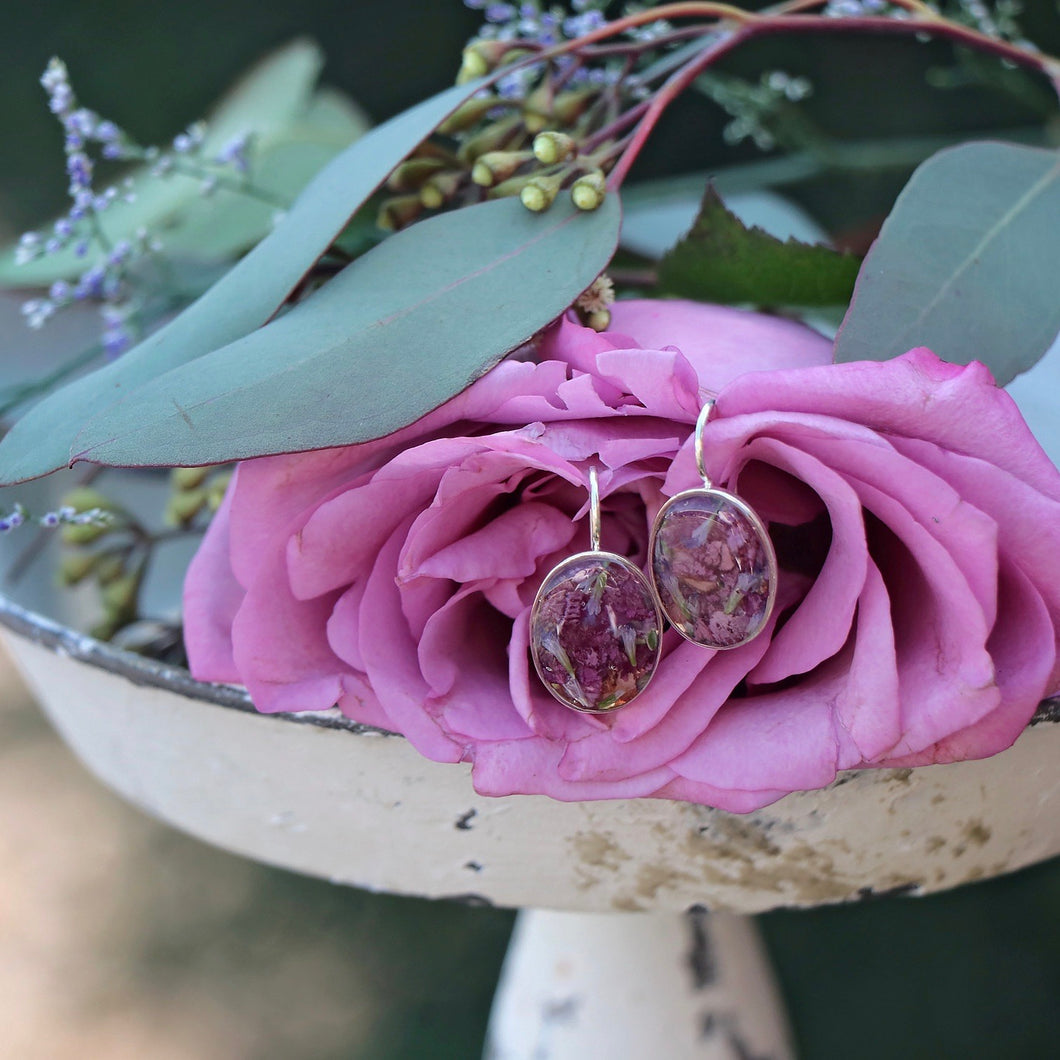 Memory Flower Jewelry | Oval Earrings