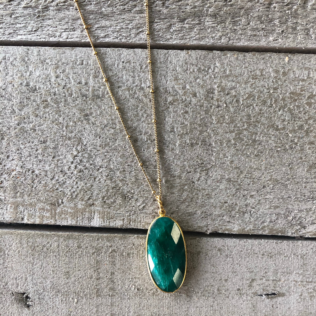 Gemstone Jewelry | Emerald Drop Necklace