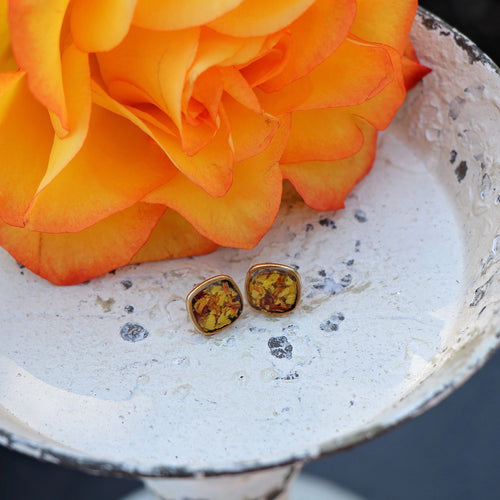 Memory Flower Jewelry | Mini Square Studs