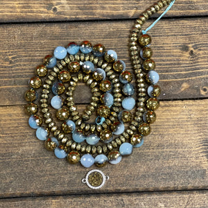 Plated Blue Agate + Hematite