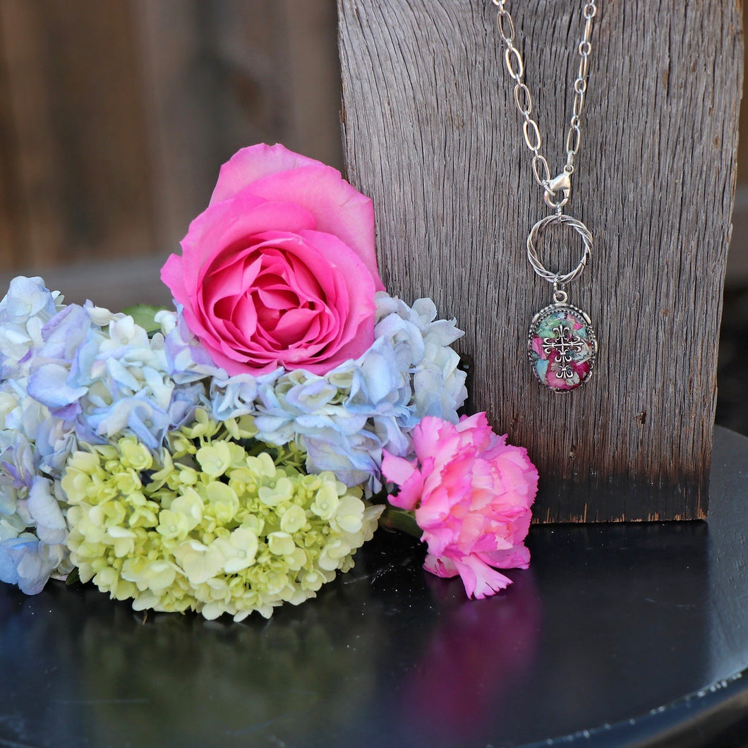 Memory Flower Jewelry | Long Ornate Oval Necklace
