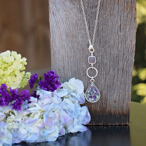 Memory Flower Jewelry | Druzy Drop Necklace