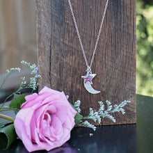 Load image into Gallery viewer, Memory Flower Jewelry | Moon and Star Necklace