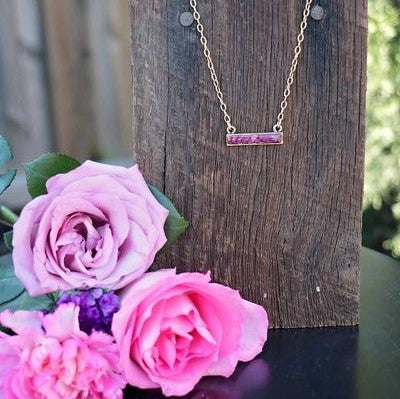 Memory Flower Jewelry | Horizontal Bar Necklace